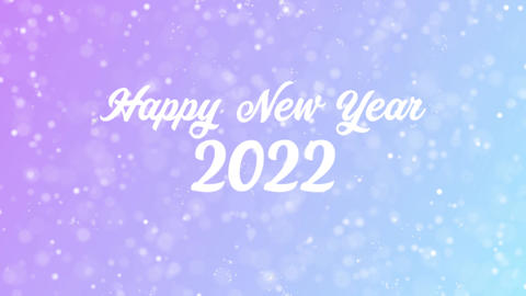 Happy New Year 2022 Greeting card text with beautiful snow and stars particles Animation