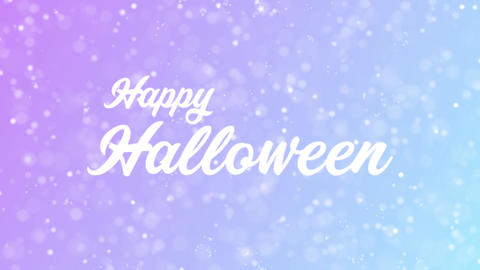 Happy Halloween Greeting card text with beautiful snow and stars particles Animation