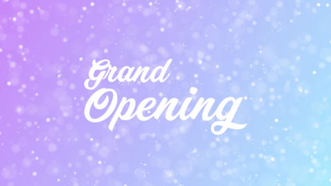 Grand Opening Greeting card text with beautiful snow and stars particles Animation