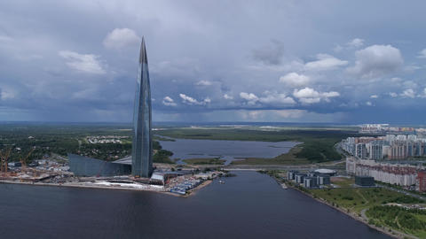 Aerial around view of Lakhta Center in Russia Footage