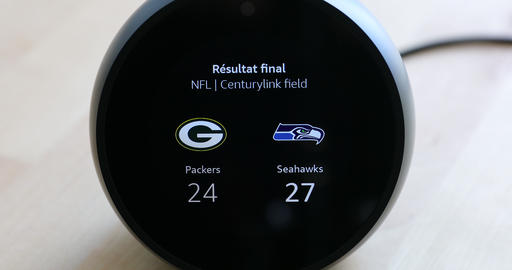 Amazon Echo Spot Showing Sport Team Results From NFL Last Game Live Action