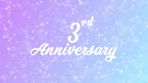 3rd Anniversary Greeting card text with beautiful snow and stars particles Animation