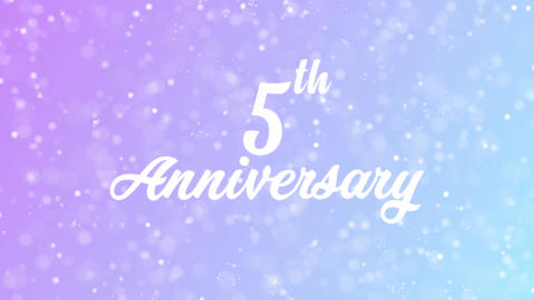 5th Anniversary Greeting card text with beautiful snow and stars particles Animation