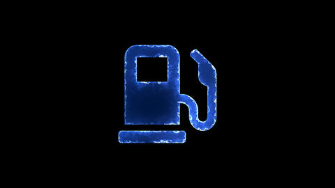 Symbol gas pump. Blue Electric Glow Storm. looped video. Alpha channel black Animation
