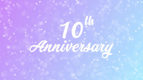 10th Anniversary Greeting card text with beautiful snow and stars particles Animation