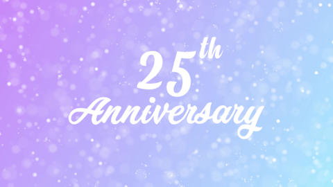 25th Anniversary Greeting card text with beautiful snow and stars particles Animation