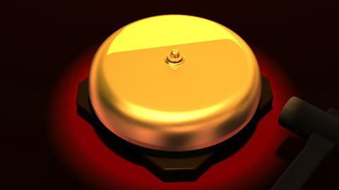 Spotlighted repeating boxing bell on red background Animation