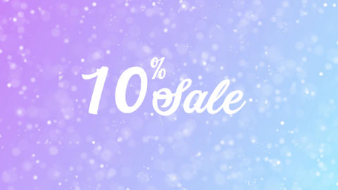 10% Sale Greeting card text with beautiful snow and stars particles Animation