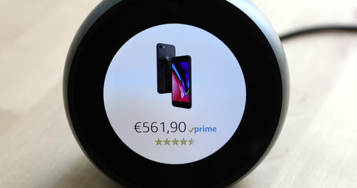 Shopping On Amazon With Amazon Echo Spot Smart Assistant Footage