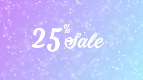 25% Sale Greeting card text with beautiful snow and stars particles Animation