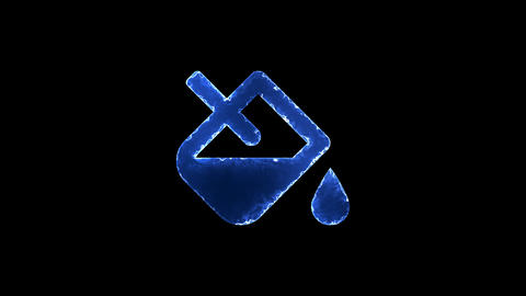 Symbol fill drip. Blue Electric Glow Storm. looped video. Alpha channel black Animation