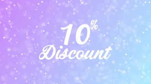 10% Discount Greeting card text with beautiful snow and stars particles Animation
