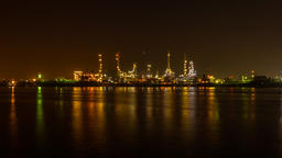 Oil Refinery Station at morning, Thailand. (Time Lapse) ビデオ