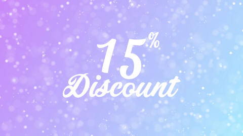 15% Discount Greeting card text with beautiful snow and stars particles Animation