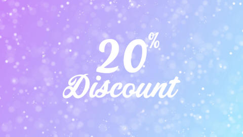 20% Discount Greeting card text with beautiful snow and stars particles Animation