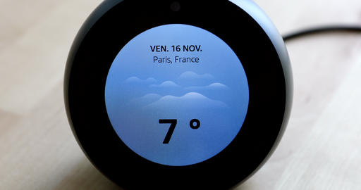 Amazon Echo Spot Showing Showing The Weather Forecast Temperature Of Paris On Live Action
