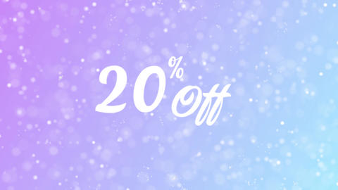 20% Off Greeting card text with beautiful snow and stars particles Animation