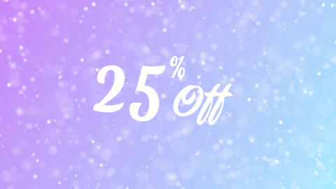 25% Off Greeting card text with beautiful snow and stars particles Animation