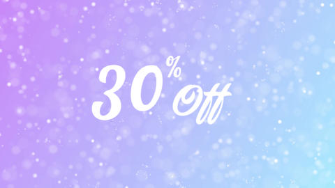 30% Off Greeting card text with beautiful snow and stars particles Animation