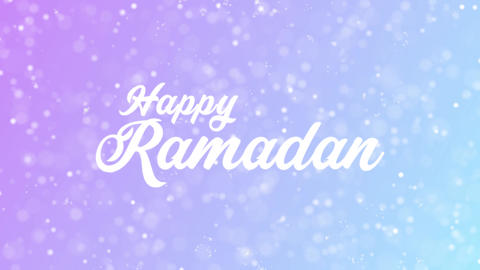 Happy Ramadan Greeting card text with beautiful snow and stars particles Animation