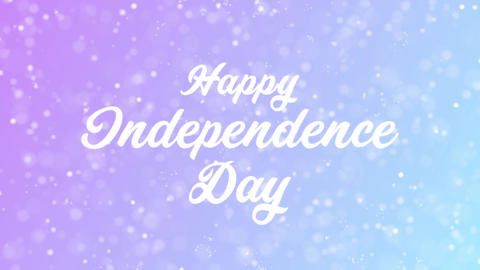 Happy Independence Day Greeting card text with beautiful snow and stars particle Animation