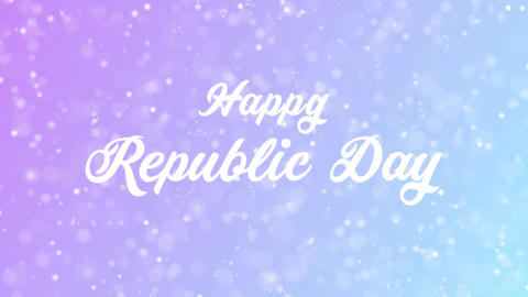 Happy Republic Day Greeting card text with beautiful snow and stars particles Animation