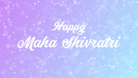 Happy Maha Shivratri Greeting card text with beautiful snow and stars particles Animation
