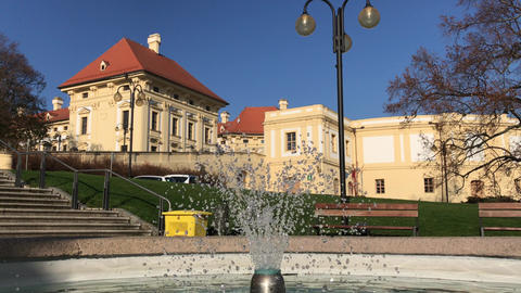 Fountain at historical Austerlitz castle, Czech Republic ビデオ