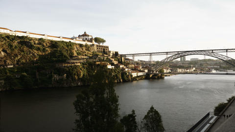 Porto, Portugal Dom Luis I bridge view over Douro river 6K evening time lapse Footage