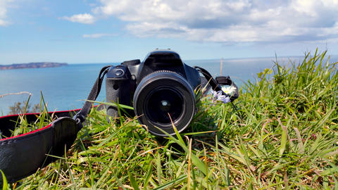 camera is lying on the green grass, closeup フォト