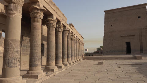 Buildings and columns of ancient Egyptian megaliths. Ancient ruins of Egyptian Live Action