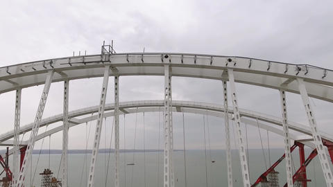 Construction of the bridge. Engineering facilities for the construction of a Footage