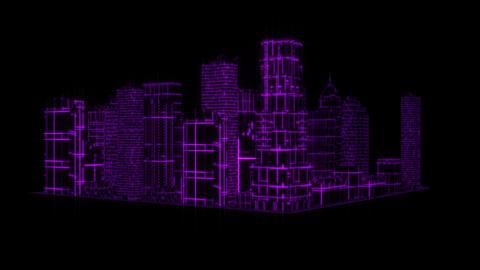 3D Purple Tron Hologram City Loopable Motion Graphic Element Animation