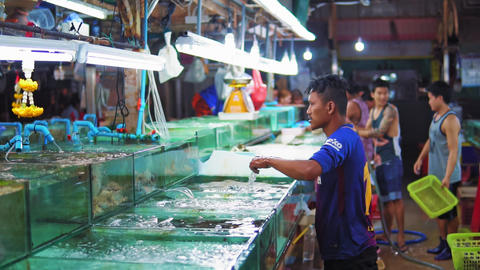 Night market of seafood in Asia, crabs and lobsters in the aquariums for sale to Live Action