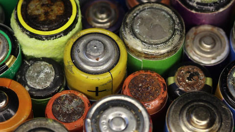 A corroded batteries close up. Battery acid ビデオ