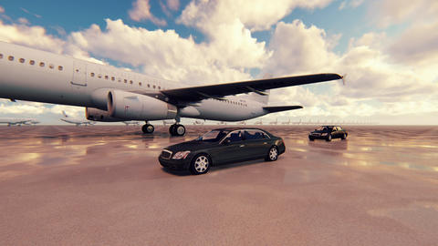 The plane takes off on a Sunny day against accompanied by business cars in slow Animation