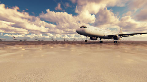 Passenger plane takes off on a Sunny day against the background in slow motion Animation