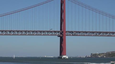 C0204 suspension bridge over river Live Action
