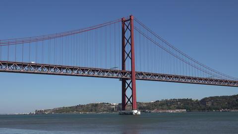 C0207 suspension bridge over river Live Action