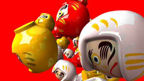 Daruma dolls on red background Animation