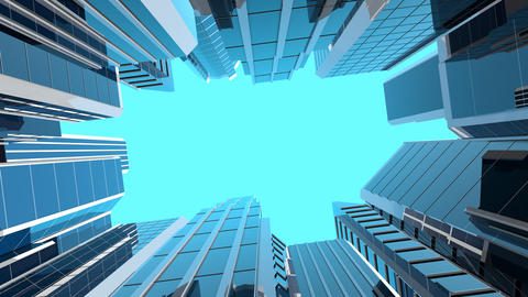 Rotating camera looking at modern skyscrapers Animation