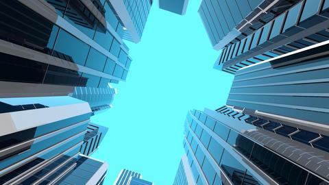 [alt video] Rotating camera looking at modern skyscrapers