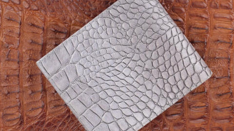 Rotation, two texture crocodile skin, gray leather purse lies on brown skin Live Action