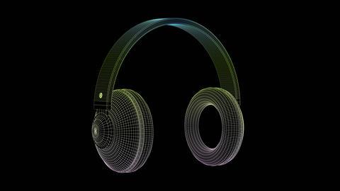 3D wire-frame model of big headphones GIF