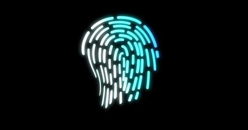 Ffuturistic digital processing of biometric Animation of fingerprint black Footage