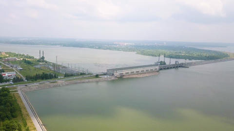 Novosibirsk Hydroelectric Power Plant is a hydroelectric power station on the Ob Footage