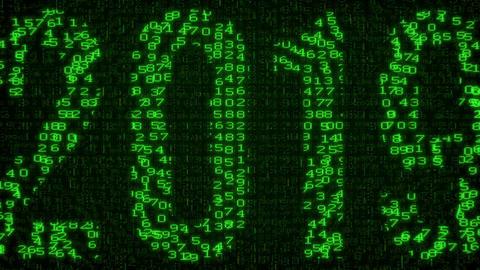 2019 Year - Digital Data Code Matrix Animation