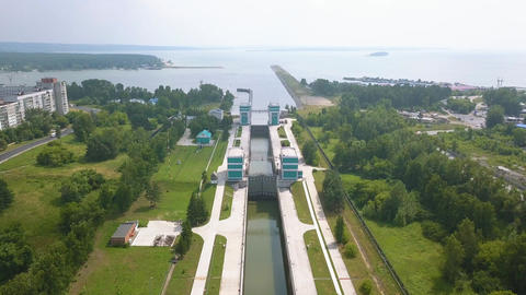 The shipping gateway of the Novosibirsk hydro-electric power station on the Ob Footage
