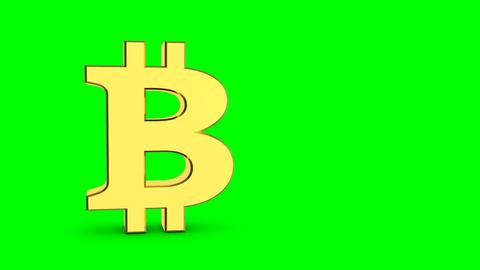 Golden bitcoin sign. Cyclic animation of a rotating golden sign bitcoin on a Footage