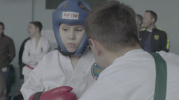 Girl and her coach during the competition in Taekwondo Footage
